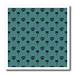 click on Small entwined hearts and a rose in dark green on a teal or blue green background. to enlarge!