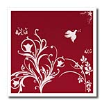 click on Floral pattern in white on a red background with dove and butterflies. to enlarge!