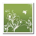 click on Floral pattern in white on a tree green background with dove and butterflies. to enlarge!