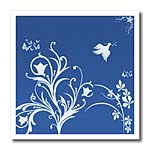 click on Floral pattern in white on a blue background with dove and butterflies. to enlarge!