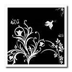 click on Floral pattern in white on a black background with dove and butterflies. to enlarge!