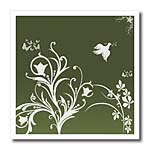 click on Floral pattern in white on a dark green to green gradient background with dove and butterflies. to enlarge!