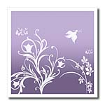click on Floral pattern in white on a lilac medium purple background with dove and butterflies. to enlarge!
