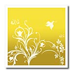 click on Floral pattern in white on a yellow to gold background with dove and butterflies. to enlarge!