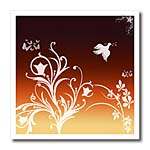 click on Floral pattern in white on a Deep Red to Orange gradient background with dove and butterflies. to enlarge!