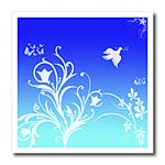 click on Floral pattern in white on a blue to cyan gradient background with dove and butterflies. to enlarge!