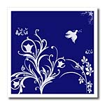 click on Floral pattern in white on a navy blue background with dove and butterflies. to enlarge!