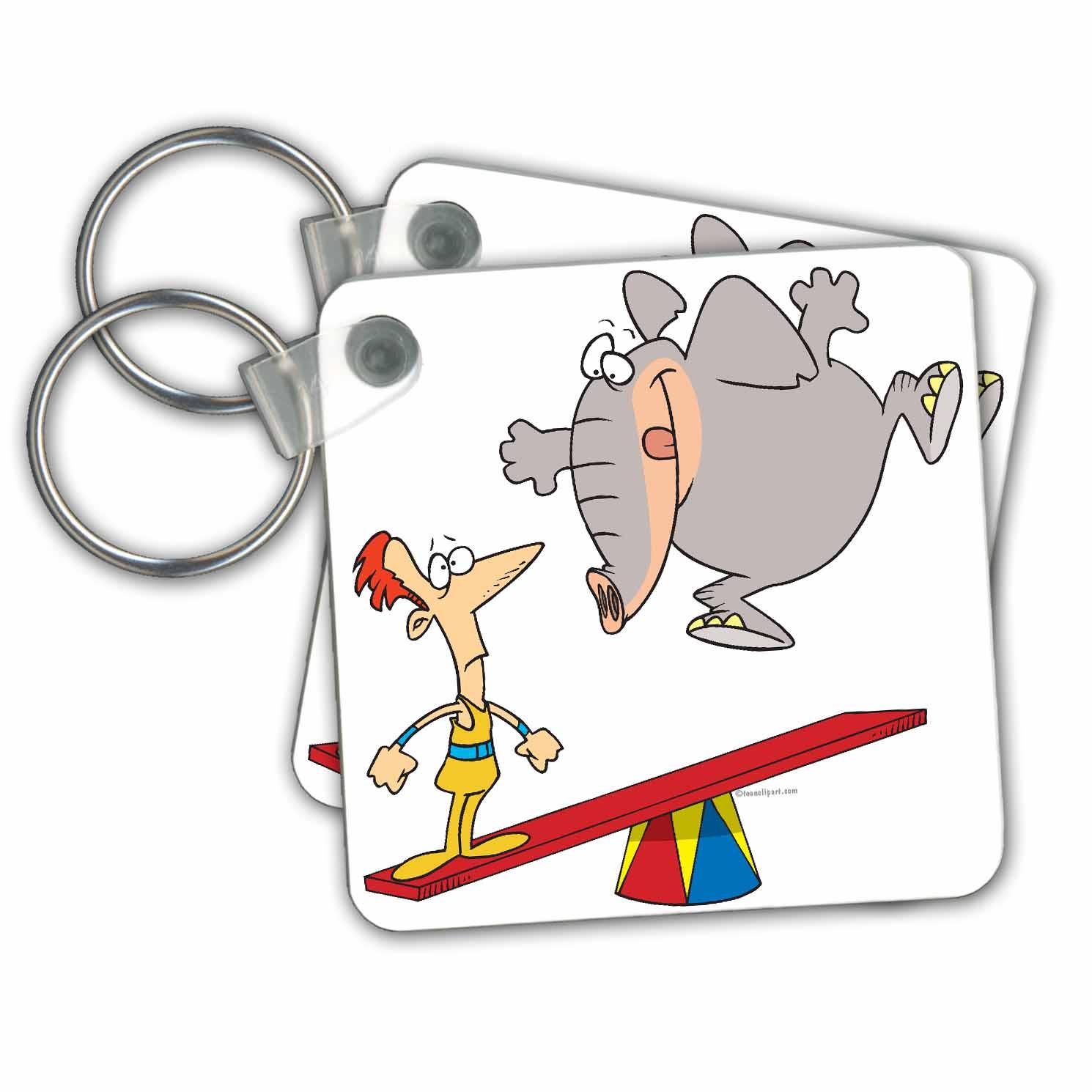 3dRose - Dooni Designs Random Toons - Elephant Teeter Totter Doom Cartoon - Key Chains at Sears.com