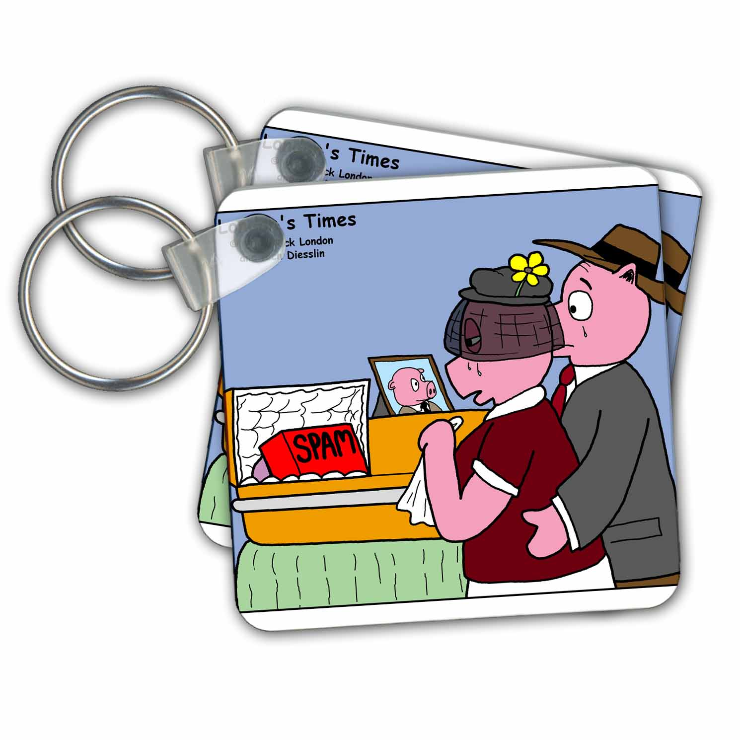 3dRose - Rich Diesslins Funny Animals Cartoons - Pig Funeral - SPAM - Key Chains at Sears.com