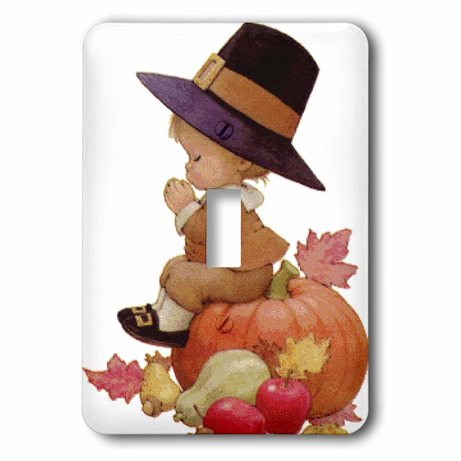 Vintage Pilgrim Boy on Pumpkin Light Switch Covers