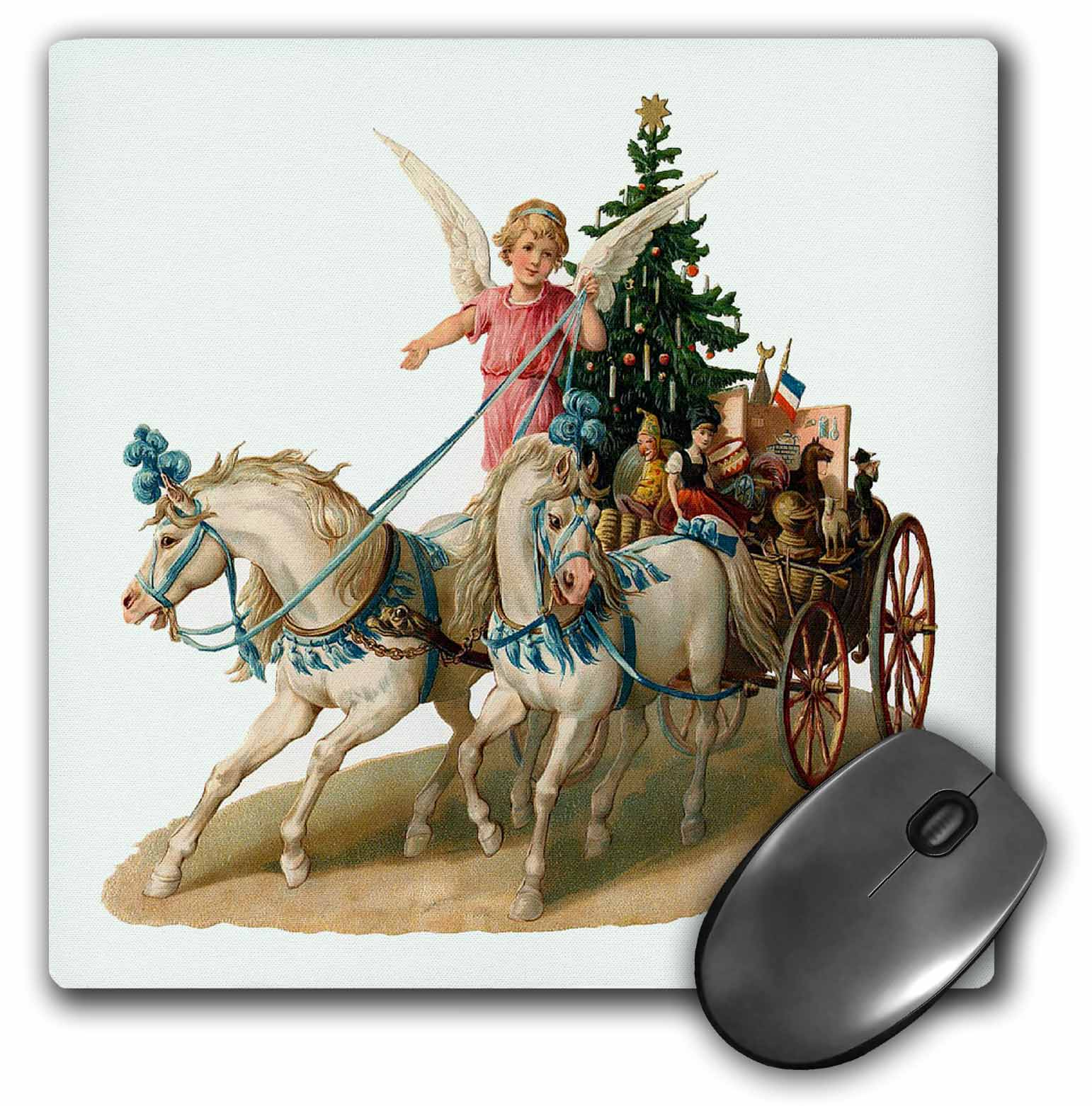 3dRose - Sandy Mertens Vintage Christmas Designs - Cartoon Angel in Horse Drawn Carriage with Christmas Tree and Gifts - Mouse ...