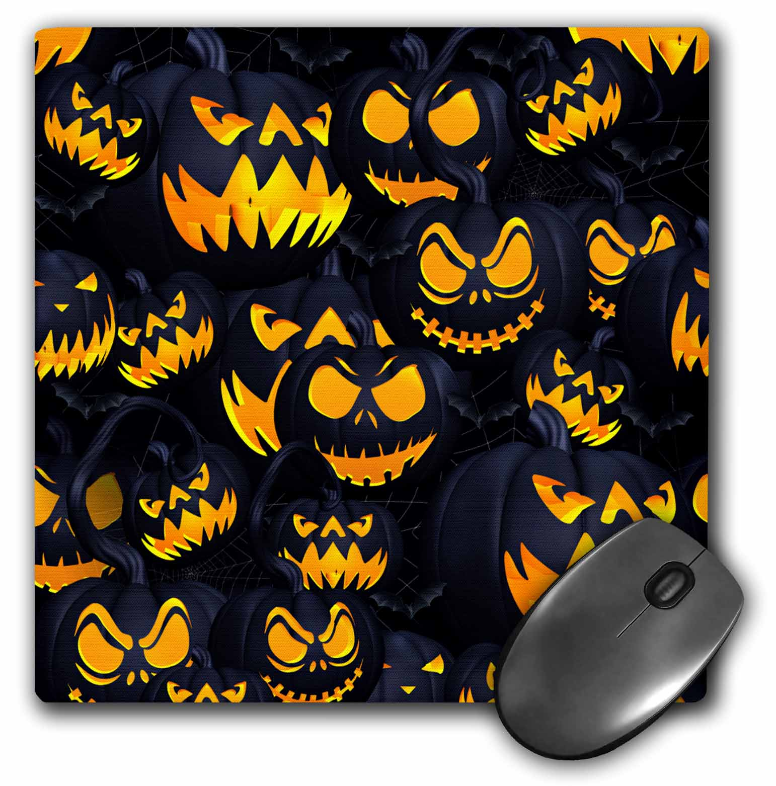 3dRose - Spiritual Awakenings-Holidays - Scary Jack O Lanterns in bright orange will get a scream or two. - Mouse Pads ...