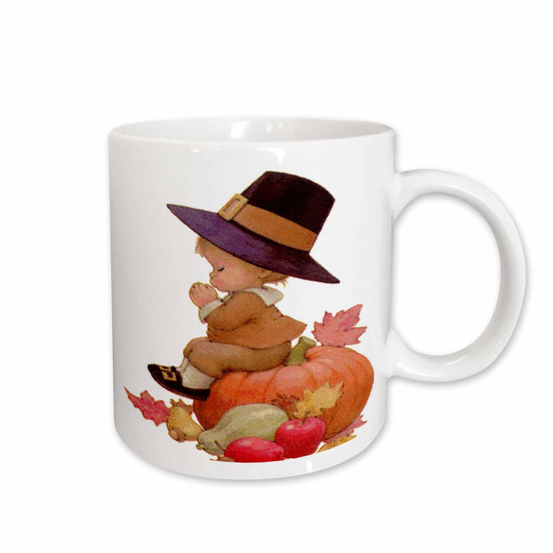 Vintage Pilgrim Boy on Pumpkin Mug