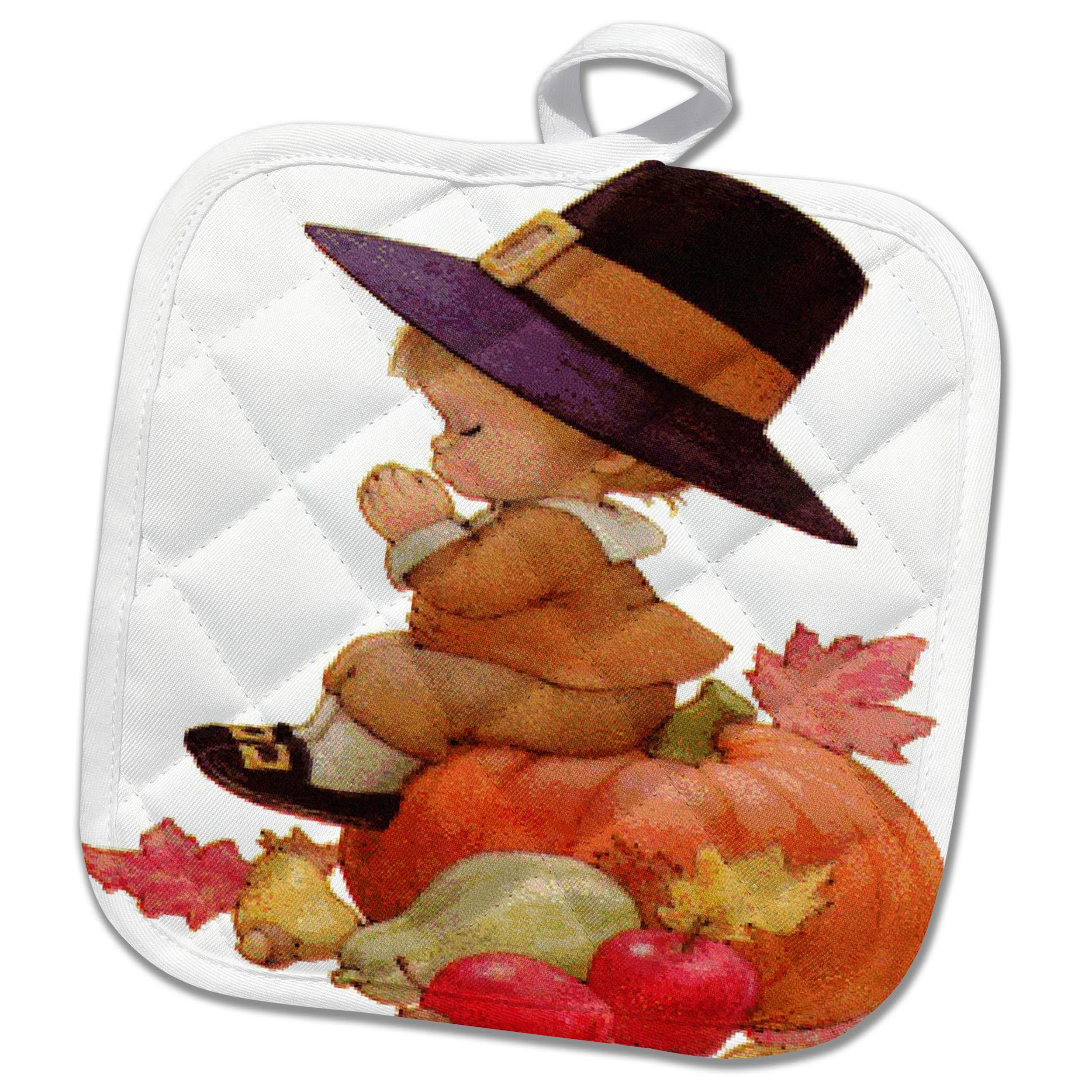 Vintage Pilgrim Boy on Pumpkin Potholder