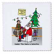 3dRose - Rich Diesslins Cartoon Days of Christmas TCDC - Dale Hunt about Department Store Santas during Christmas - Quilt Squares at Sears.com