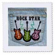 3dRose - Lee Hiller Design Back Jeans Pocket Designs - Jeans Back Pocket Guitars ROCK STAR - Quilt Squares at Sears.com