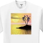 click on Sunset Palms palm trees silhouette on tropical island against sunset backdrop to enlarge!