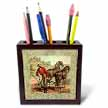 click on Vintage Red Brown Man With Horses to enlarge!