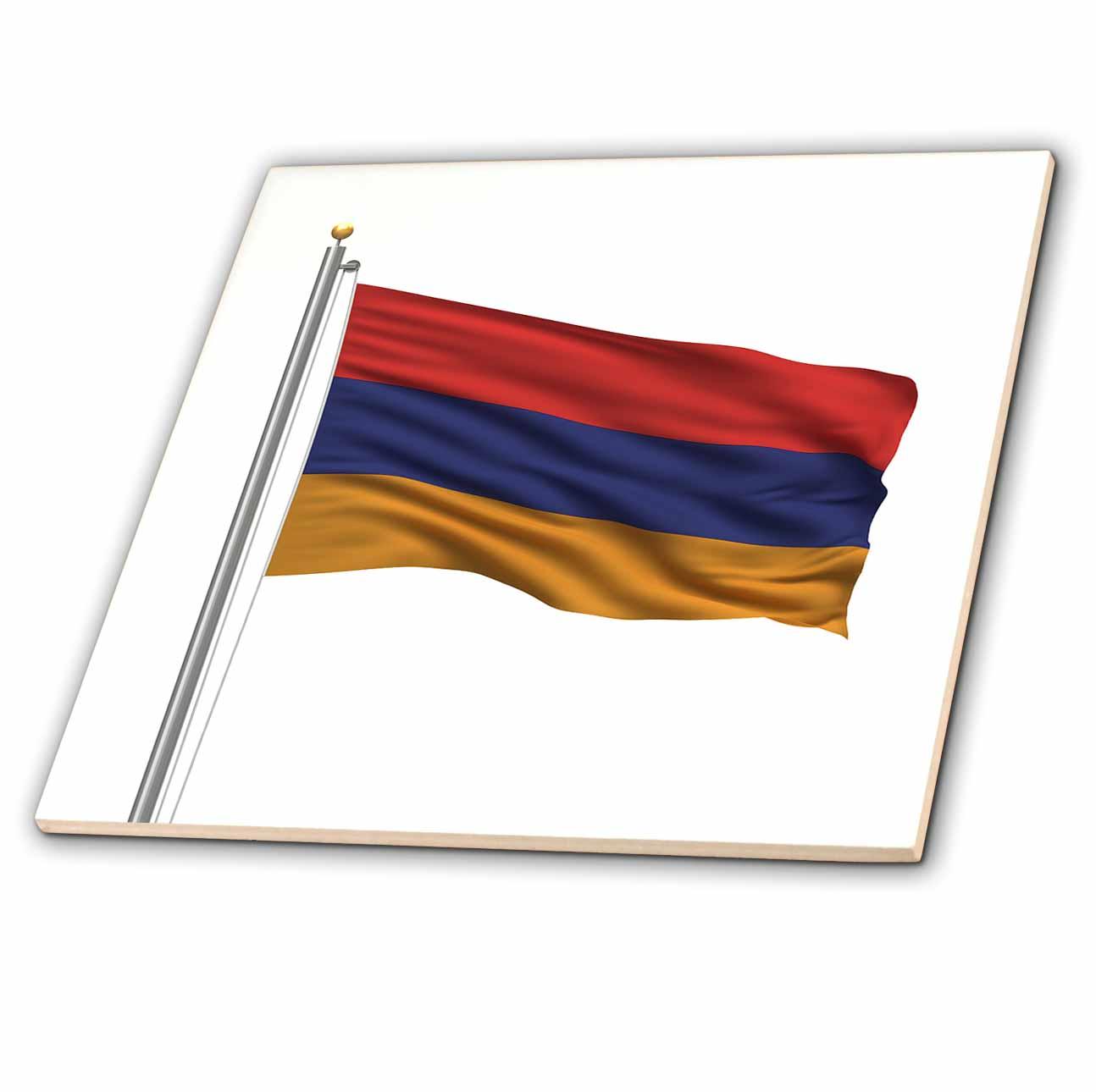 3dRose - Carsten Reisinger Illustrations - Flag of Armenia on a flag pole over white Armenian - Tiles