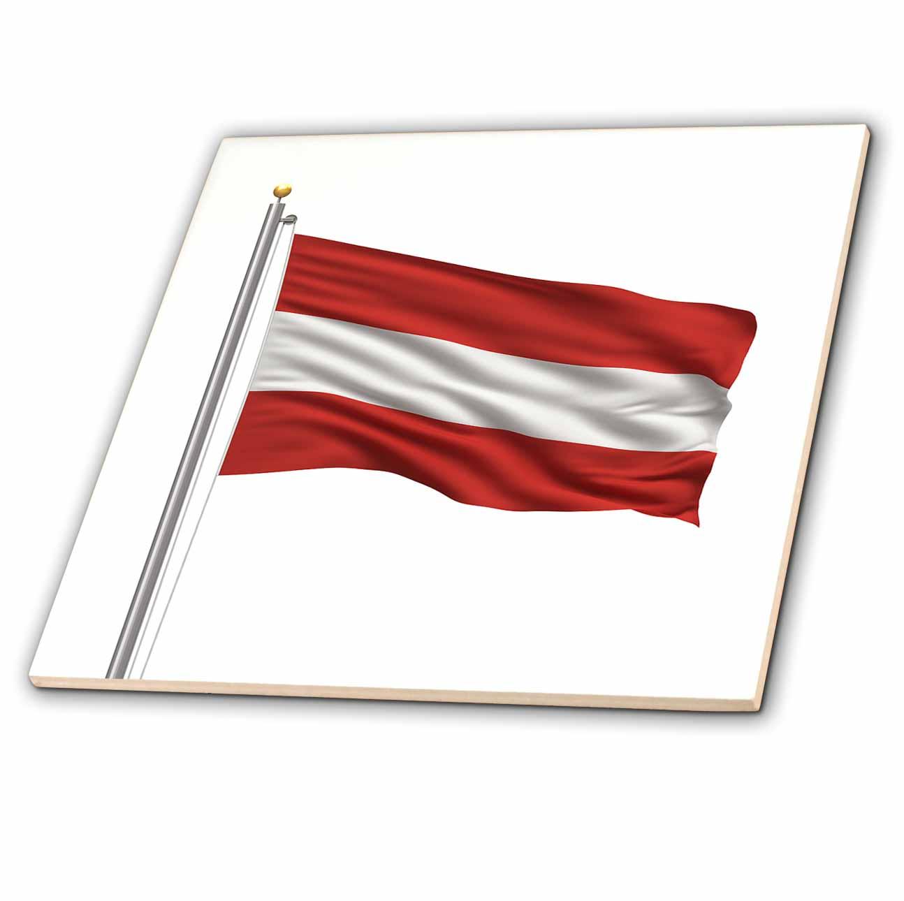 3dRose - Carsten Reisinger Illustrations - Flag of Austria on a flag pole over white Austrian - Tiles