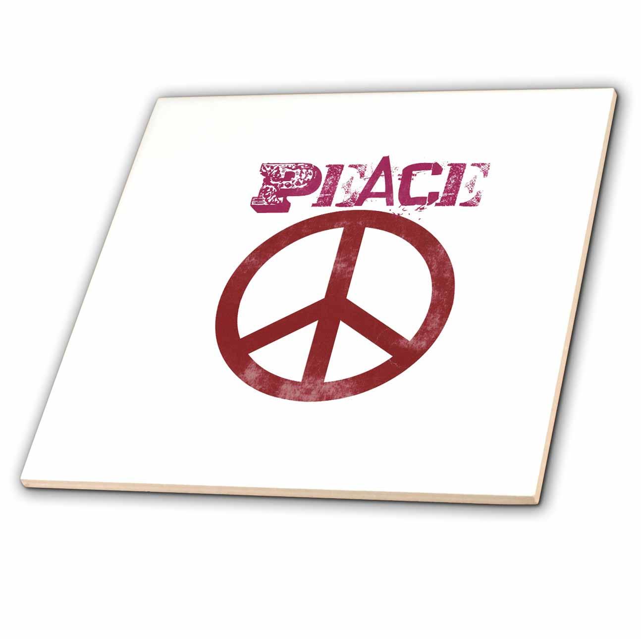 3dRose - Patricia Sanders Creations - Pink Peace Sign Symbols Spirituality - Tiles