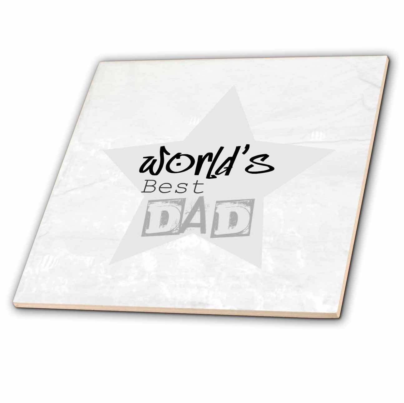 3dRose - Patricia Sanders Creations - Worlds Best Dad in Gray Words Fathers Day - Tiles