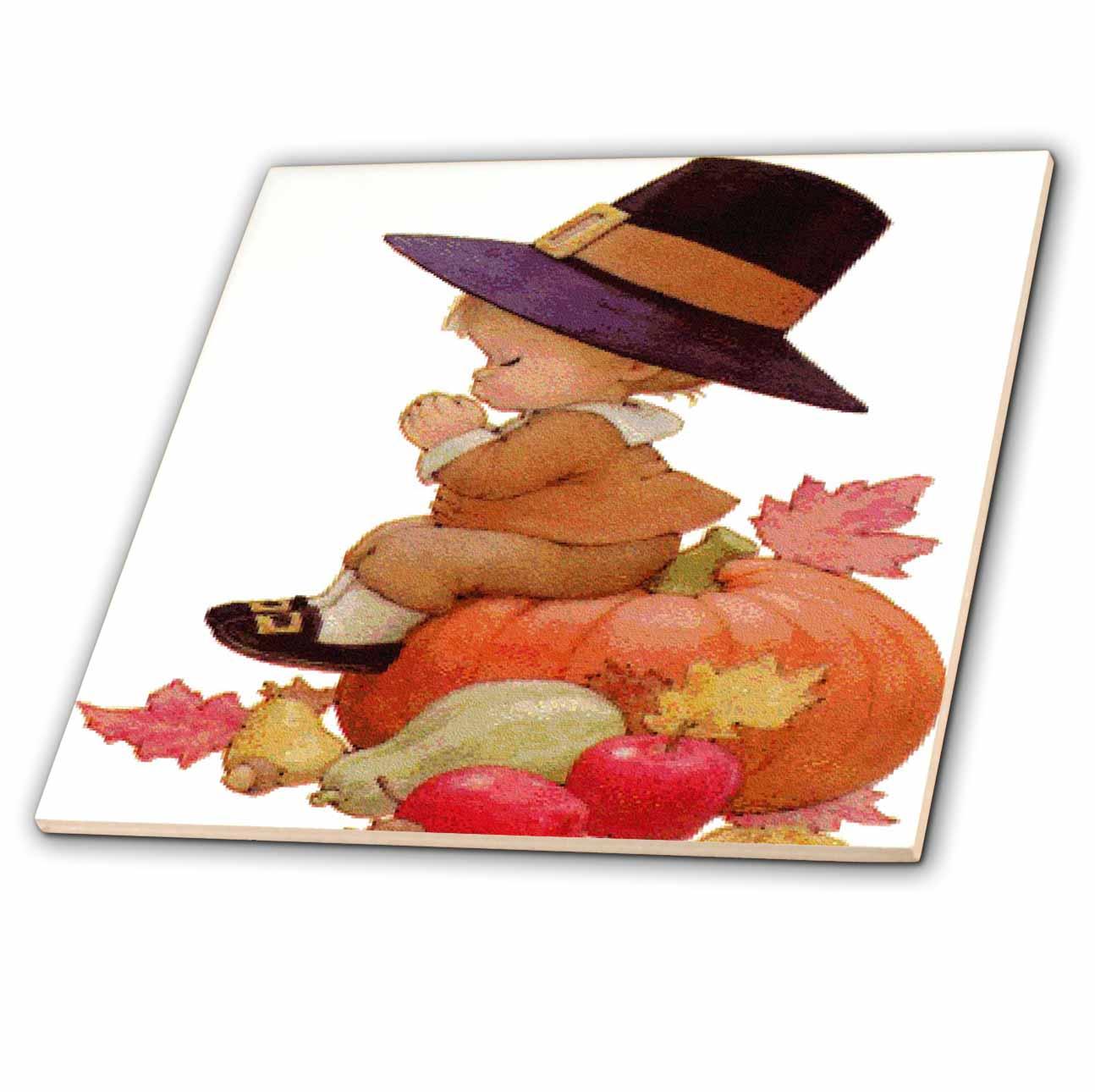 Vintage Pilgrim Boy on Pumpkin Tile