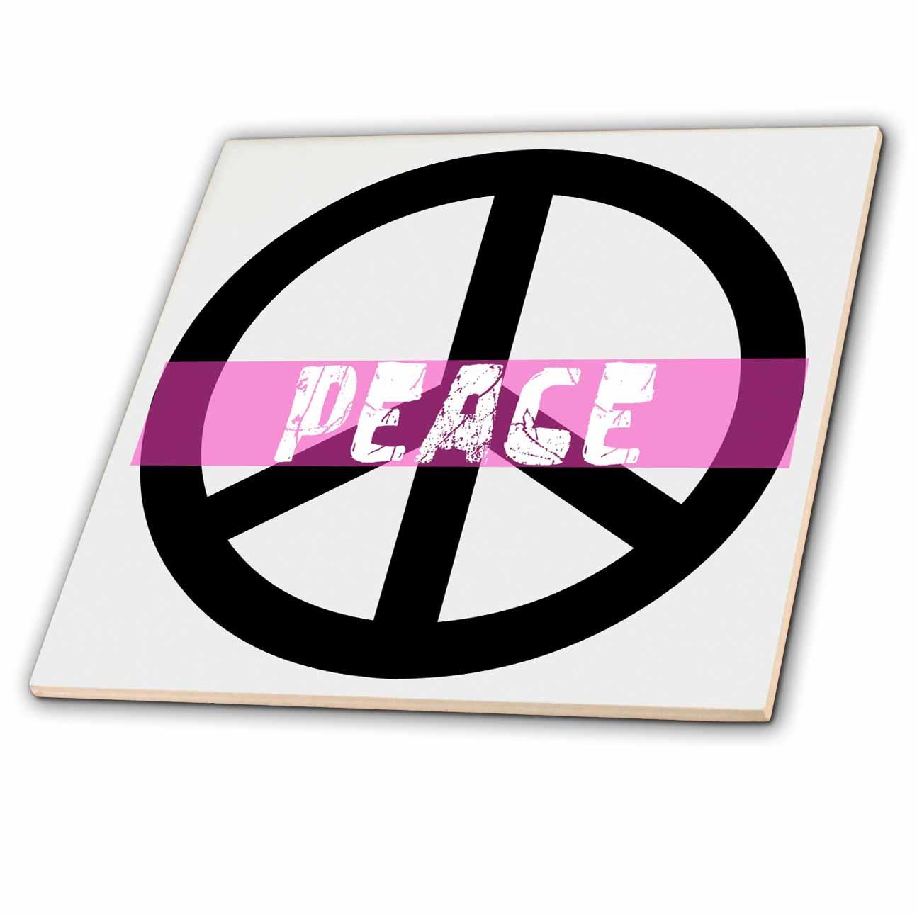 3dRose - Patricia Sanders Creations - Pink Peace Sign- Inspirational Art - Tiles
