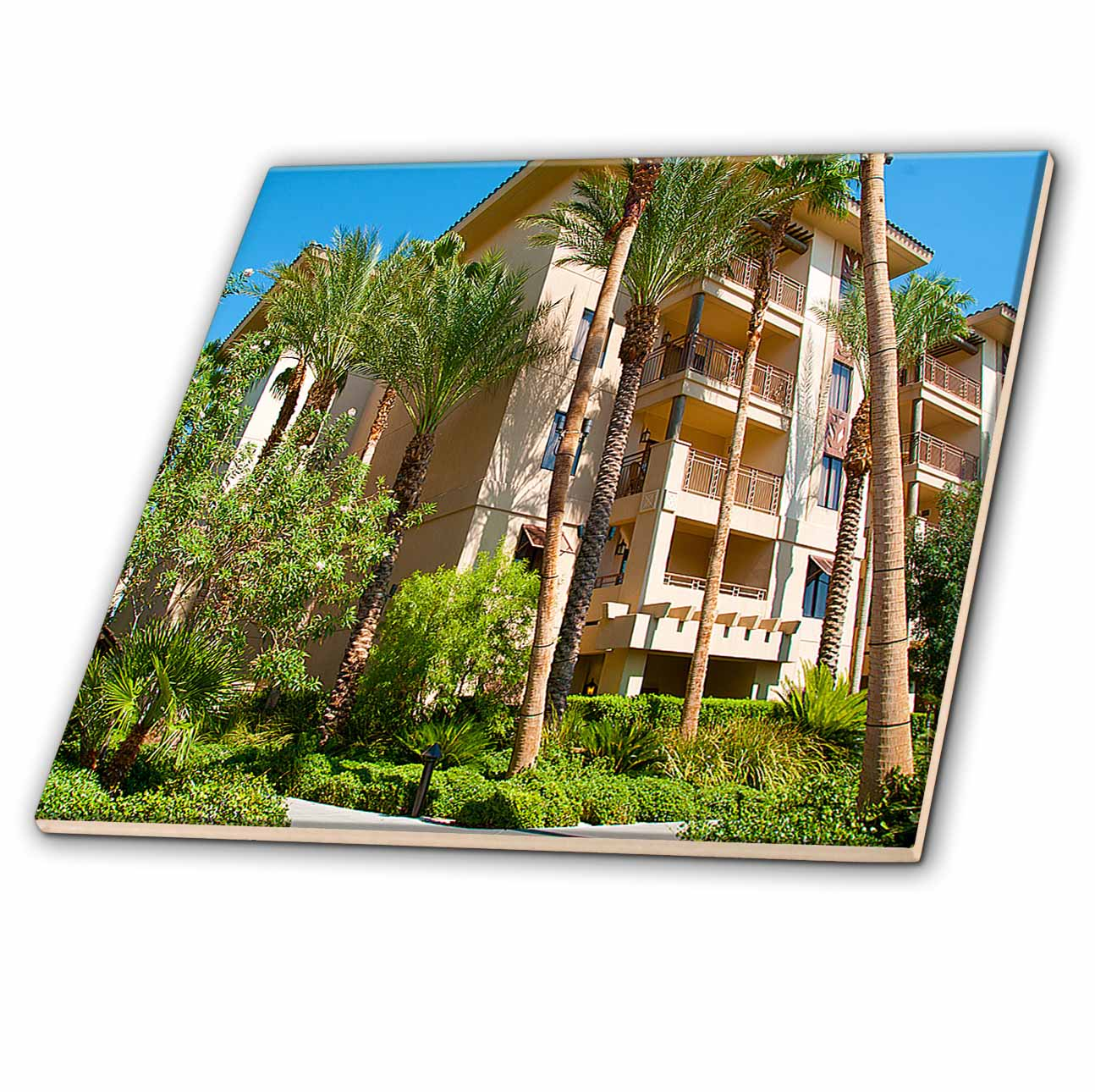 3dRose - Jos Fauxtographee Realistic - View of The Tahiti Village Hotel in Las Vegas, Nevada with its Palm Trees, Green ...