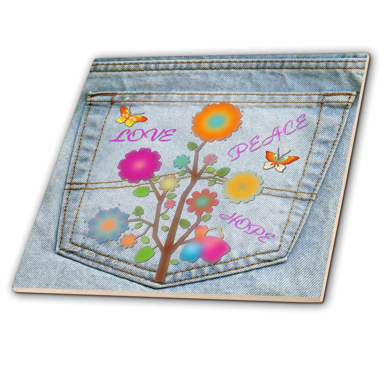 3dRose - Lee Hiller Design Back Jeans Pocket Designs - Jeans Back Pocket Flower Power Peace Love Hope - Tiles at Sears.com