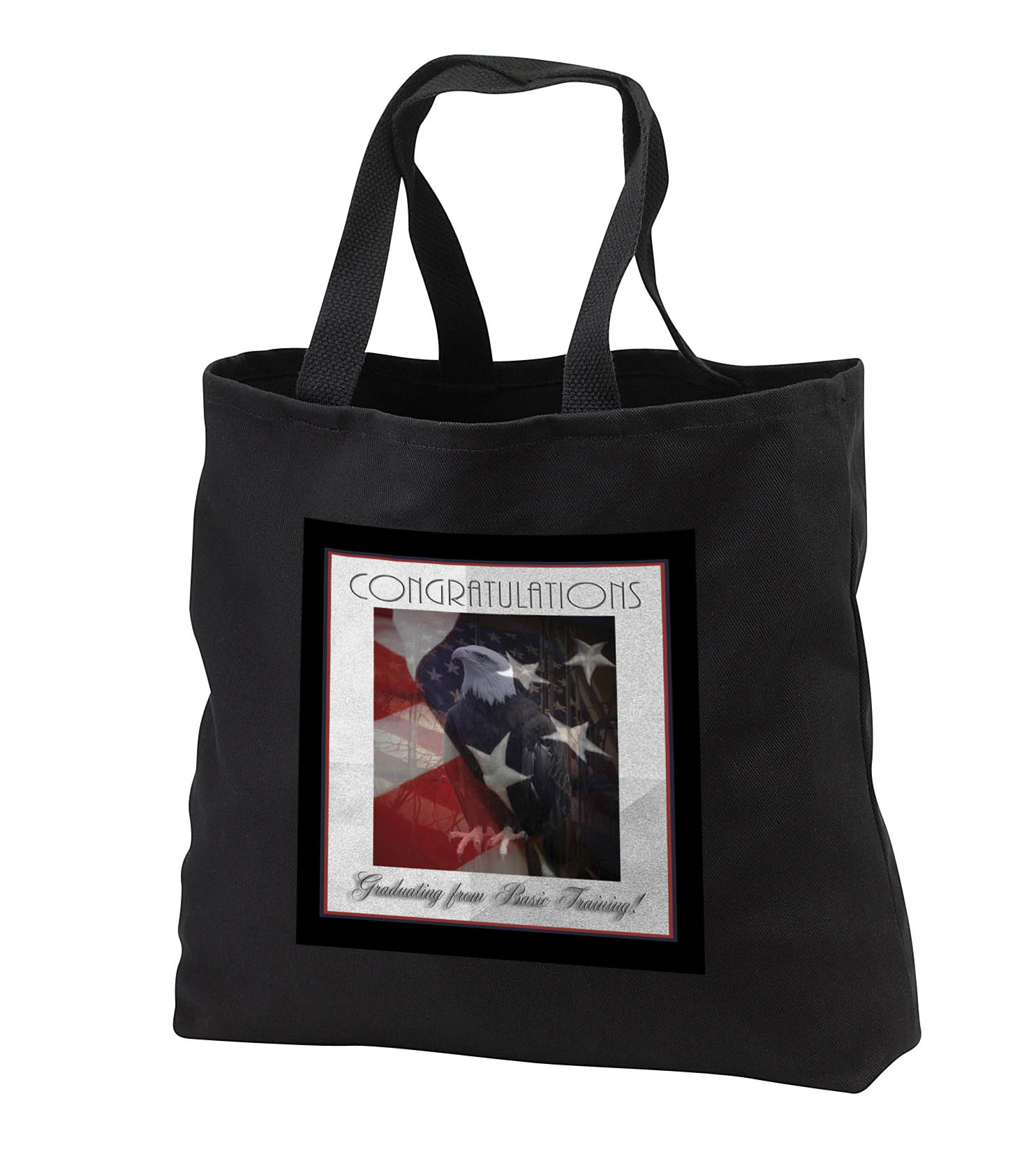 3dRose - Beverly Turner Patriotic Design and Photography - Basic Training Congratulations, Proud Eagle and American Flag - Tote ...