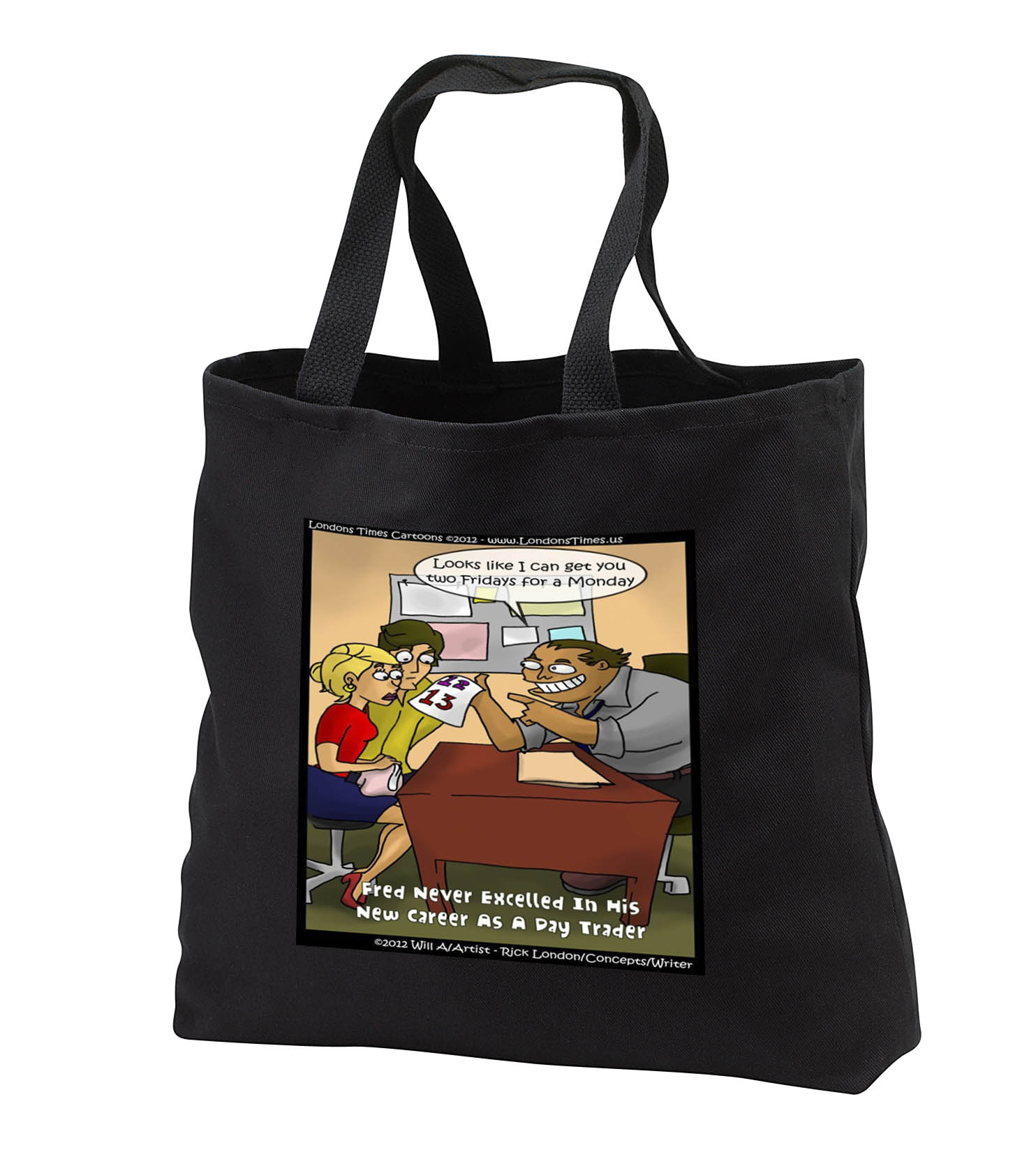 3dRose - Londons Times Offbeat Gen. 2 Cartoons - Stocks/Bonds - Confused Day Trader Funny Gifts - Tote Bags at Sears.com