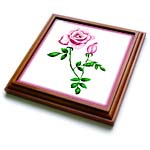 click on This artwork features a pretty pink rose with rosebud design and green leaves on a white background to enlarge!