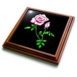 click on This artwork features a pretty pink rose with rosebud design and green leaves on a dark background to enlarge!