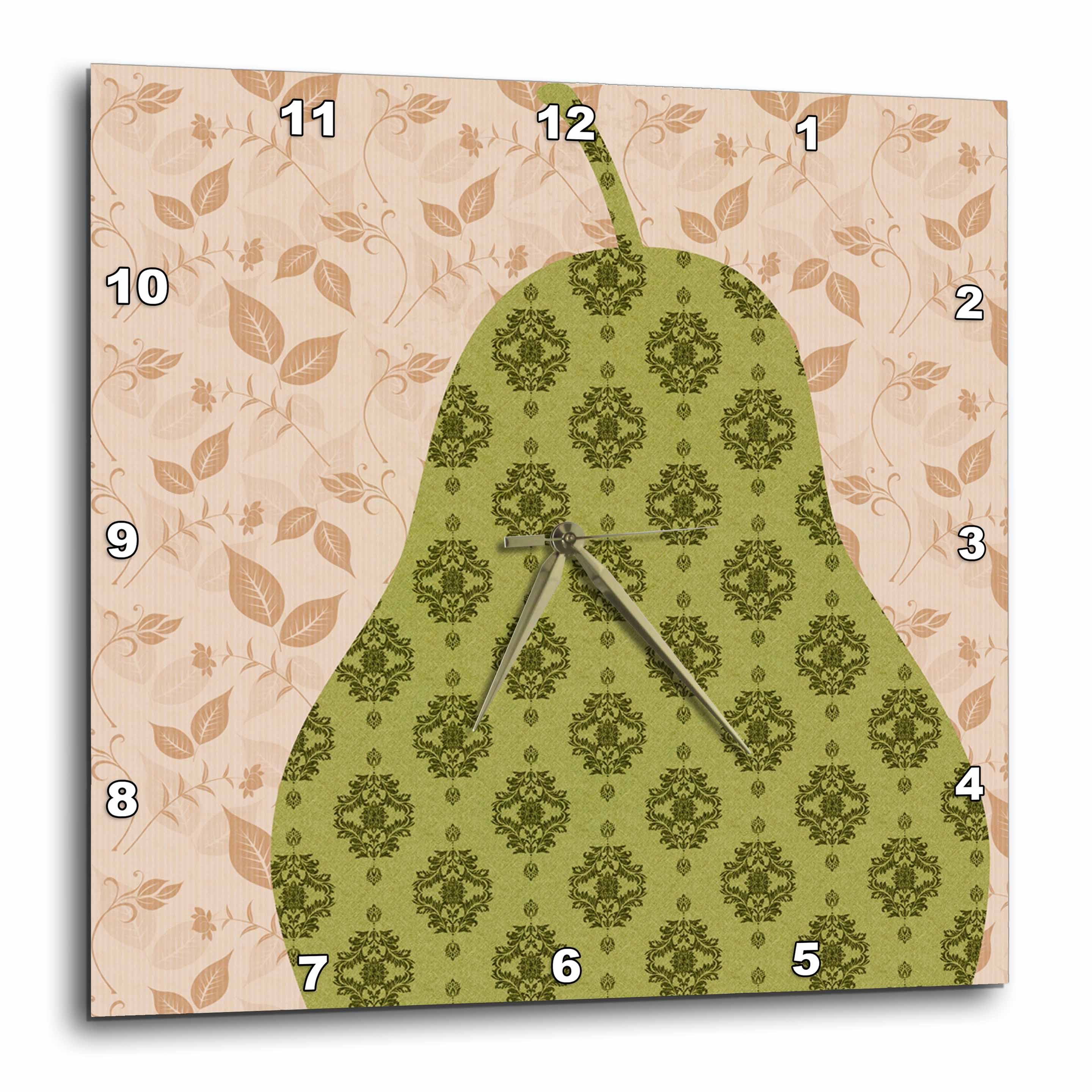 3dRose - PS Creations - Peach Leaves with Green Pear - Fruits - Kitchen Art - Wall Clocks