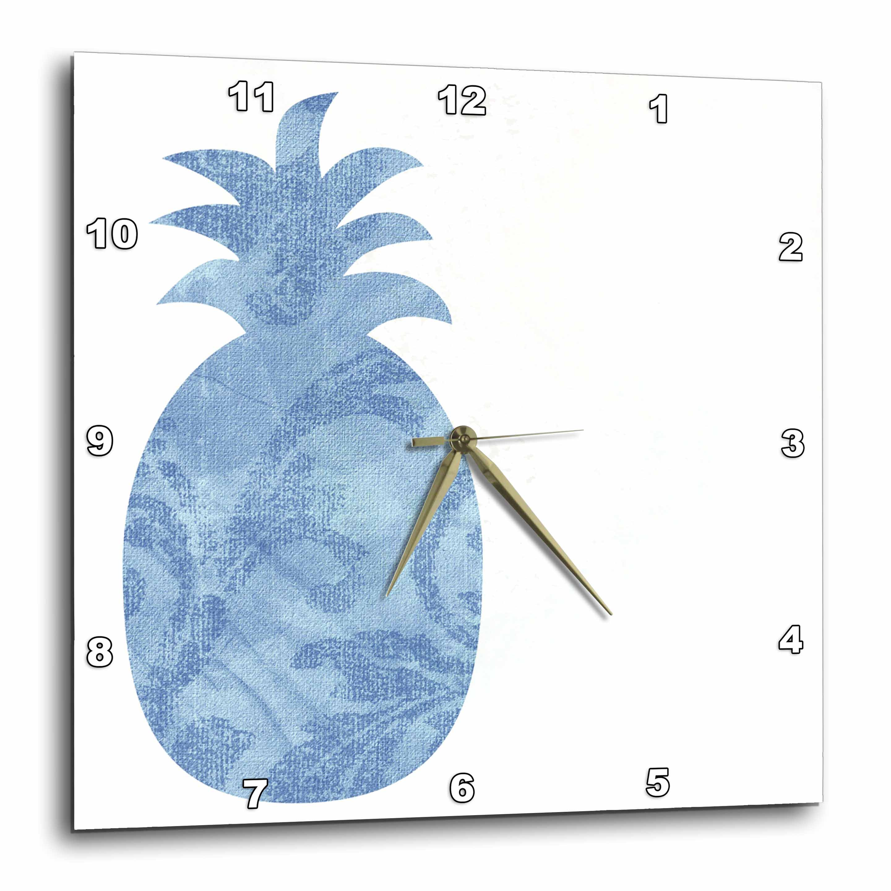 3dRose - PS Creations - Blue Abstract Pineapple - Fruits - Kitchen Art - Wall Clocks