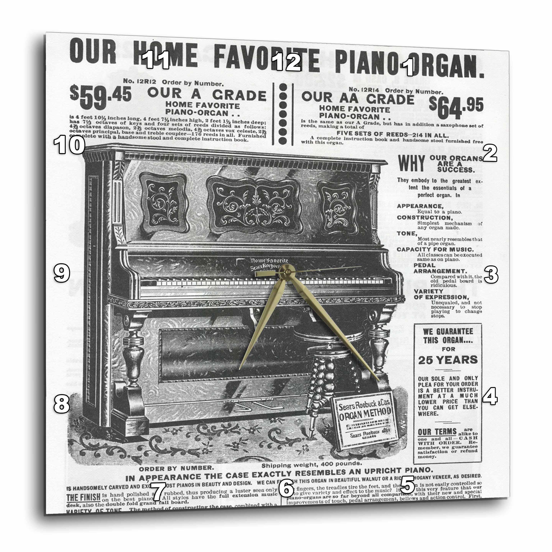 3dRose - Florene Vintage - Antique Piano - Wall Clocks