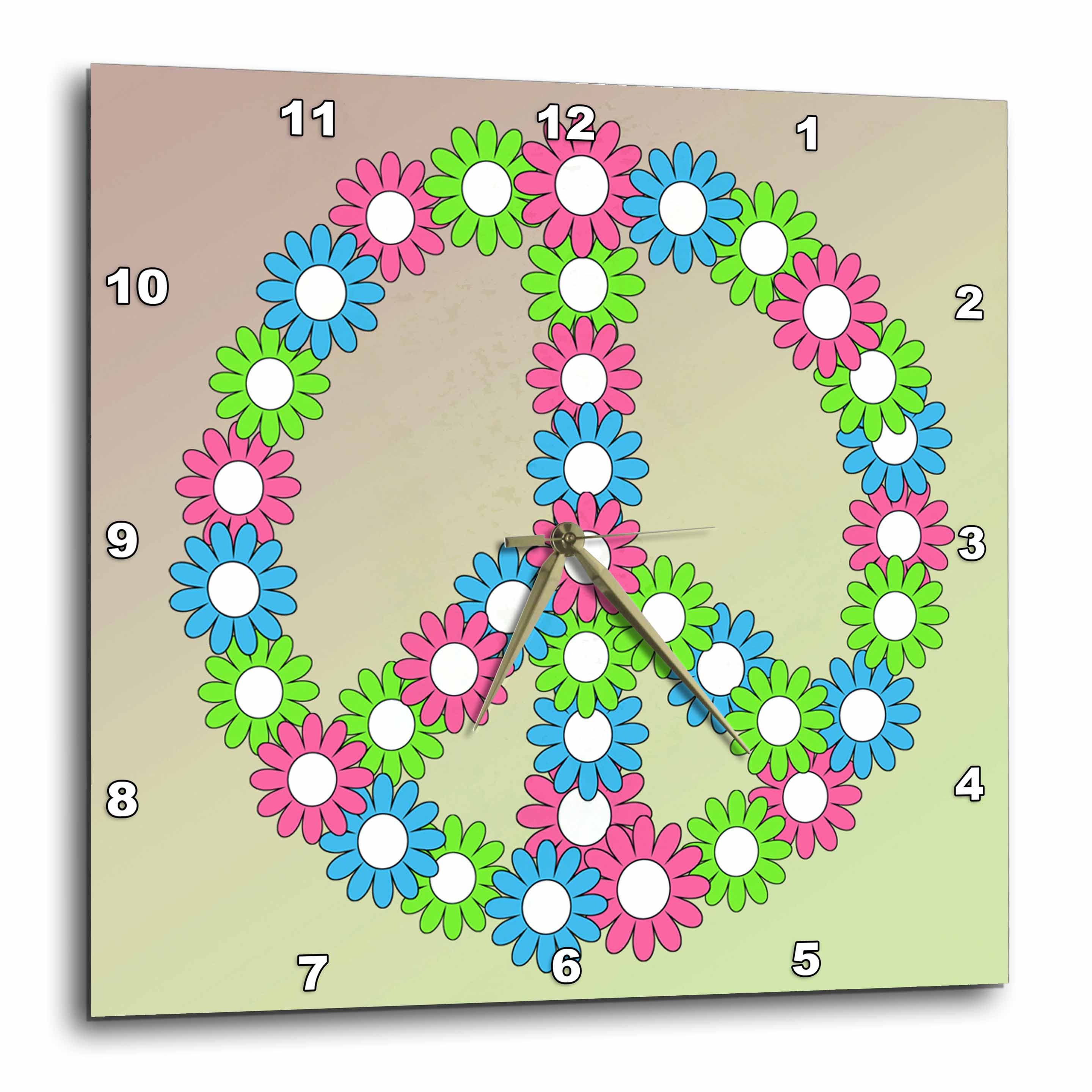3dRose - PS Inspirations - Bright Flowers Peace Sign- Inspirational Art - Wall Clocks