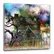 click on A spooky collage of an old haunted house, graveyard, black cat and more to enlarge!