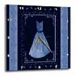 click on Denim blue design with dress and leaves and damask ribbons on navy blue background to enlarge!