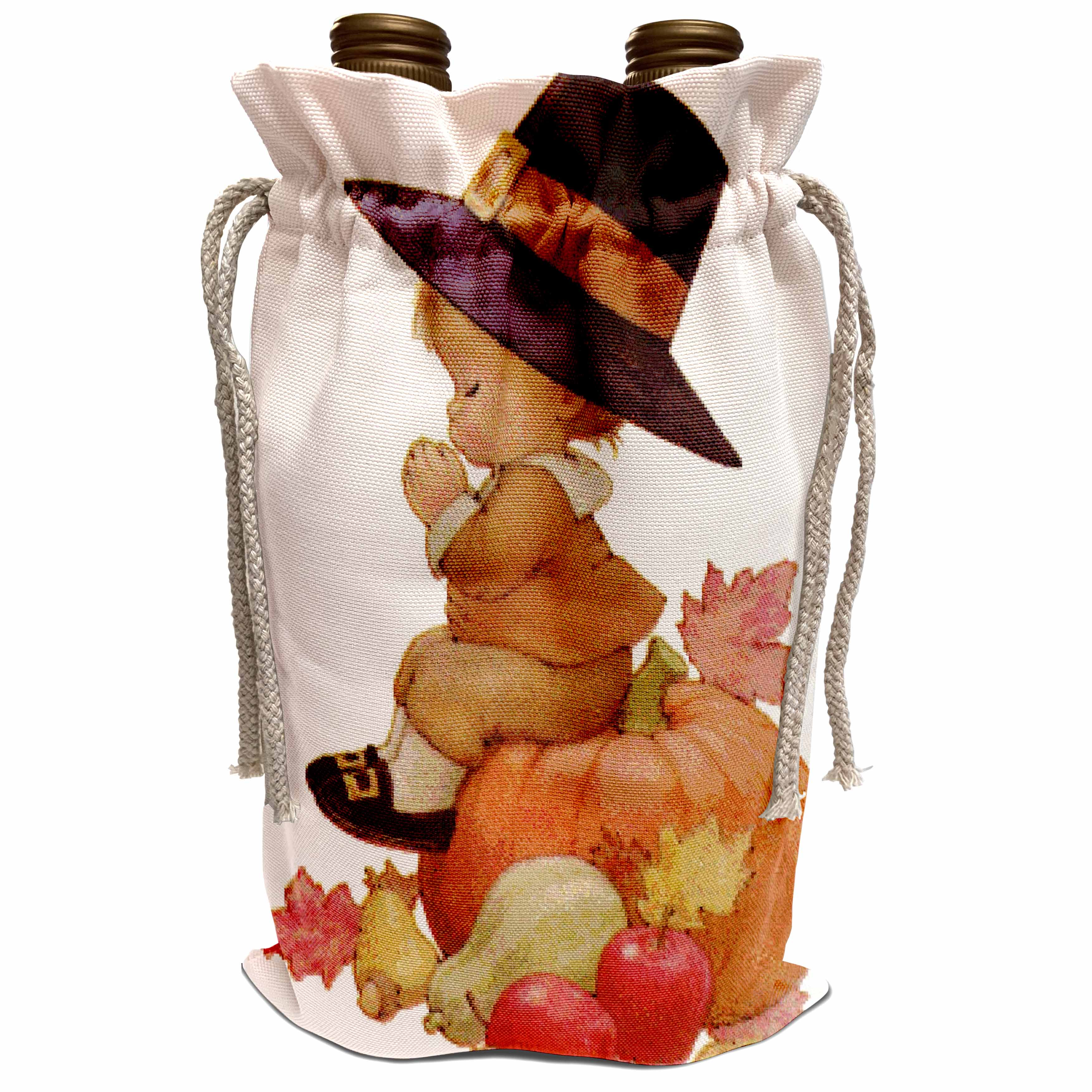 3dRose Sandy Mertens Autumn and Thanksgiving -Vintage Pilgrim Boy on Pumpkin Wine Bag